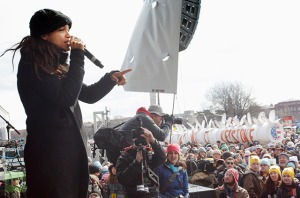 Actress Dawson addresses the crowd during a rally against the Keystone XL pipeline in Washington